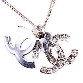 Chanel Silver Tone Rhinestone CC Necklace