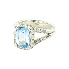 John Hardy Classic Chain 925 Sterling Silver with Blue Topaz & 0.22cts Diamond Ring Size 7