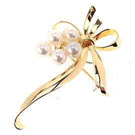 Mikimoto 18K Yellow Gold with Cultured Pearl Brooch