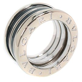 Bulgari B Zero 1 18K White Gold and Black Enamel Ring Size 4.25