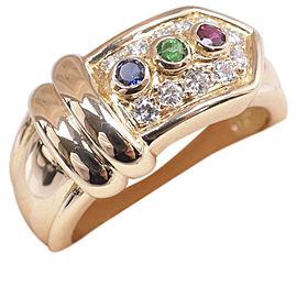 Christian Dior 18K YG/Sapphire, Ruby, Emerald, Diamond Ring Size 5.75