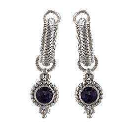 Judith Ripka 925 Sterling Silver Amethyst Gemstone Drop/Dangle Earrings