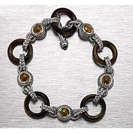 Judith Ripka 925 Sterling Silver Tigers Eye Citrine Gemstone Toggle Bracelet