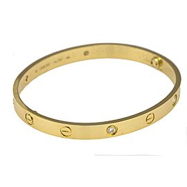 Cartier Love Bracelet 18K Yellow Gold 4 Diamond Size 19