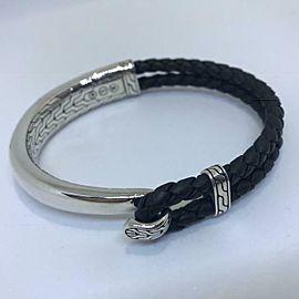 John Hardy Classic Chain Half Cuff Station Bracelet Sterling Leather Mens