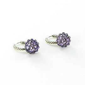 David Yurman Osetra Drop Earrings Dangles 26mm Amethyst Sterling Silver