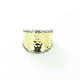 John Hardy Classic Chain Hammered Saddle Ring 18K Sterling Ring Size 6