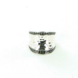 John Hardy Classic Chain Hammered Saddle Ring Spinel Sterling Ring Size 7
