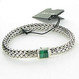John Hardy Classic Chain Bracelet Malachite Clasp 7.5mm Sterling Silver
