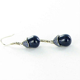 John Hardy Classic Chain Celestial Orb Sodalite Lava Sapphire Drop Earrings