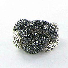 John Hardy Classic Chain Lava Large Braided Black Sapphire Ring Size 7