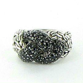 John Hardy Classic Chain Lava Small Braided Black Sapphire Ring Size 7