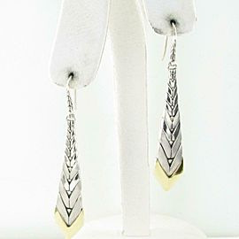 John Hardy Modern Chain Long Earrings French Wire 18K Sterling
