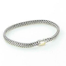 John Hardy Classic Chain 5mm Bracelet Hammered 18K Gold Clasp Sterling