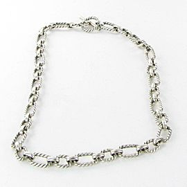 """David Yurman 9.5mm Cushion Link Chain Necklace 18"""" Sapphires Sterling Silver"""
