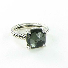 David Yurman Chatelaine Ring 11mm Green Orchid Diamond Sterling Size 7