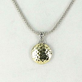 John Hardy Dot Hammered Pendant 18K Gold Sterling Silver Chain Necklace