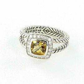 David Yurman Petite Albion Citrine Diamond Ring 0.20cts Sterling Size 7