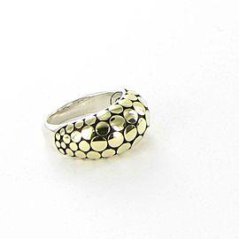 John Hardy Dot Gold Silver Dome Ring 18K Yellow Sterling 925 Sz 7