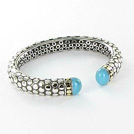 John Hardy Batu Dot Gold Silver Turquoise Kick Cuff Bracelet 18k Sterling