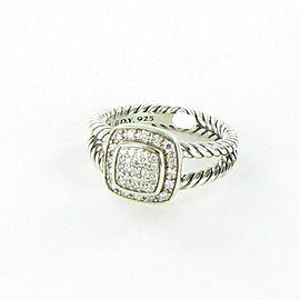 David Yurman Petite Albion Pave Diamond Ring 0.29cts Sterling 925 Sz 7