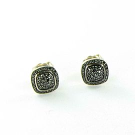 David Yurman Albion Earrings 11mm Pave Black Diamond 0.47cts Sterling Studs