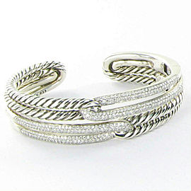 David Yurman Labyrinth Double Loop Bracelet 2.19cts Diamond Sterling 925