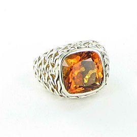 John Hardy Classic Chain 14mm Citrine Ring Sterling Sterling Silver
