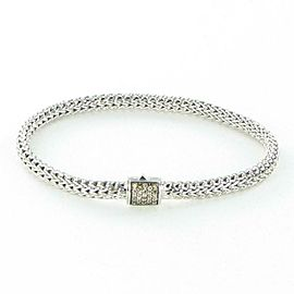 John Hardy Classic Chain 5mm Bracelet Champagne Diamond Clasp Sterling