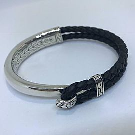 John Hardy Classic Chain Half Cuff Station Bracelet Sterling Leather Mens