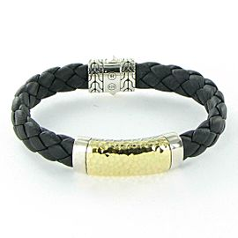 John Hardy Classic Chain Station Bracelet 18K Plated Sterling Black Leather Mens