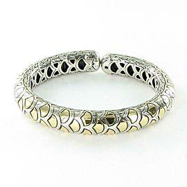 John Hardy Legends Naga Silver Gold Cuff Bracelet 18K Sterling CZ65947XM $1595