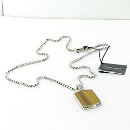 "John Hardy Batu Classic Chain Necklace Dog Tag Sterling Tigers Eye 22"" NWT $665"