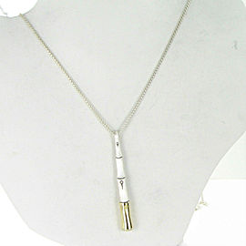 John Hardy Bamboo Brushed Silver 18k Long Drop Pendant Necklace 32""