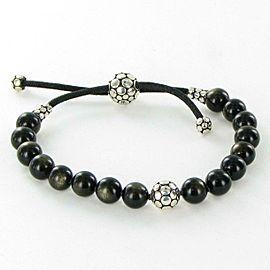 John Hardy Dot Beaded Bracelet Obsidian 8mm Sterling Adjustable Pull Through