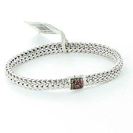 John Hardy Classic Chain 6.5mm Bracelet Garnet Clasp Sterling Silver