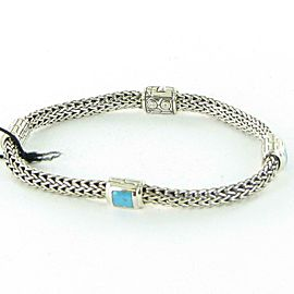 John Hardy Classic Chain 4 Station Bracelet Turquoise Sterling