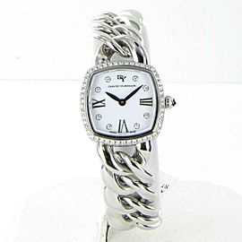 David Yurman Albion 23mm Diamond 0.56cts Bezel Watch White Dial Steel