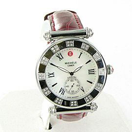 Michele Caber Atlas Diamond Watch 0.33ct Quartz MW16A01H6025 Red Crocodile Strap