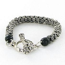 King Baby Stingray Tri-Bead Bracelet Toggle Clasp Sterling Silver K42-8177 New