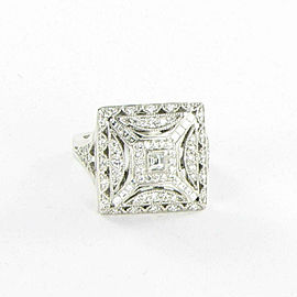 Tacori Crescent Square Diamond 0.90cts Ring 18K White Gold Size 6 1/2 FR802