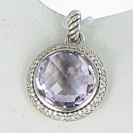 David Yurman Albion Enhancer Pendant Lavender Amethyst Diamond 1.10cts Sterling