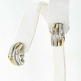 David Yurman Labyrinth Shrimp Hoop Diamond Earrings 18K Sterling 0.74cts