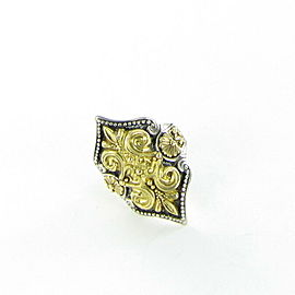 Konstantino Hebe Ornate Fleur de Lis Ring 18K Gold Sterling Sz 7
