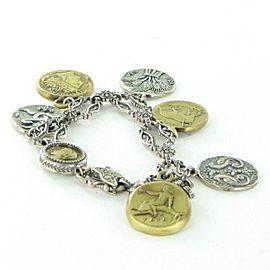 "Konstantino Kerma Coin Charm Link Bracelet Bronze Sterling Silver 7.5"""