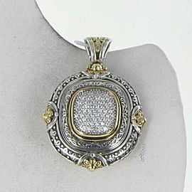 Konstantino Engraved Diamond 0.65cts Enhancer Large Cushion 18K Gold Sterling