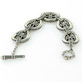"Konstantino Penelope Oval Link Cross Bracelet Toggle Clasp Sterling Silver 7"""