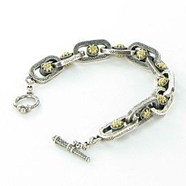 Konstantino Penelope Sterling Link Bracelet w18k Yellow Gold Toggle Clasp 7.5""
