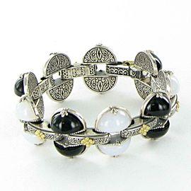 """Konstantino Thetis Link Bracelet Black White Agate Etched Sterling 18k Gold 7"""""""