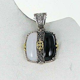 Konstantino Thetis Enahncer Cushion Pendant Black White Agate Sterling 18k Gold
